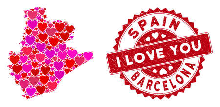 Love mosaic Barcelona Province map and distressed stamp watermark with I Love You caption. Barcelona Province map collage created with randomized red heart icons.