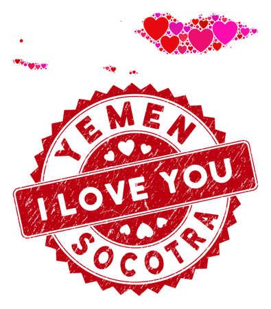 Collage d'amour Carte de l'archipel de Socotra et filigrane de timbre corrodé avec la phrase Je t'aime. Collage de carte de l'archipel de Socotra formé de symboles de coeur rouge dispersés.