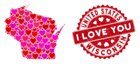 Love mosaic Wisconsin State map and grunge stamp watermark with I Love You badge. Wisconsin State map collage composed with scattered red heart symbols.