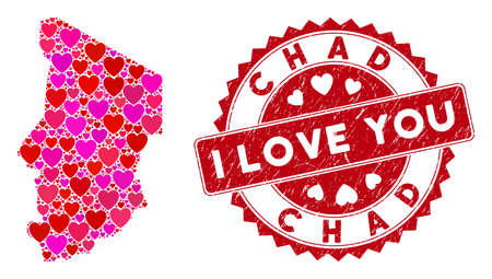 Love collage Chad map and grunge stamp seal with I Love You phrase. Chad map collage created with random red heart icons. Red round I Love You seal stamp with unclean texture. Vector Illustratie