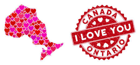 Love collage Ontario Province map and distressed stamp seal with I Love You badge. Ontario Province map collage designed with scattered red heart symbols.