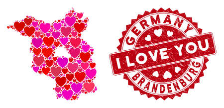 Love collage Brandenburg Land map and corroded stamp seal with I Love You message. Brandenburg Land map collage designed with scattered red heart symbols.