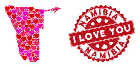 Valentine collage Namibia map and grunge stamp seal with I Love You badge. Namibia map collage designed with random red heart elements. Red round I Love You seal stamp with scratched texture.