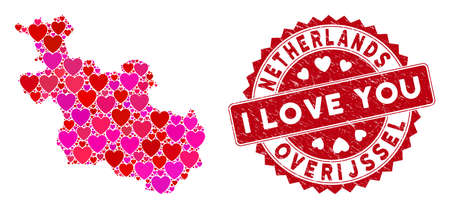 Love mosaic Overijssel Province map and grunge stamp seal with I Love You text. Overijssel Province map collage formed with scattered red heart elements.
