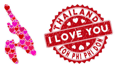 Love mosaic Koh Phi Don map and corroded stamp seal with I Love You words. Koh Phi Don map collage constructed with scattered red heart elements. Illustration