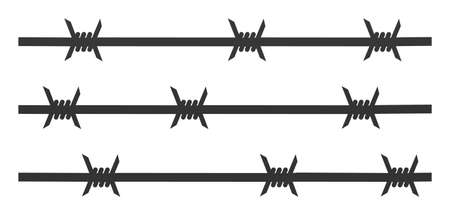 Barbwire fence vector icon. Flat Barbwire fence symbol is isolated on a white background. Vector Illustration