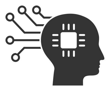 Brain circuit vector icon. Flat Brain circuit pictogram is isolated on a white background.