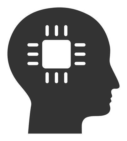 Brain processor vector icon. Flat Brain processor symbol is isolated on a white background. Illustration