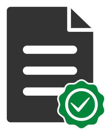 Icône de vecteur de document de confirmation. Le symbole du document de confirmation plat est isolé sur un fond blanc. Vecteurs