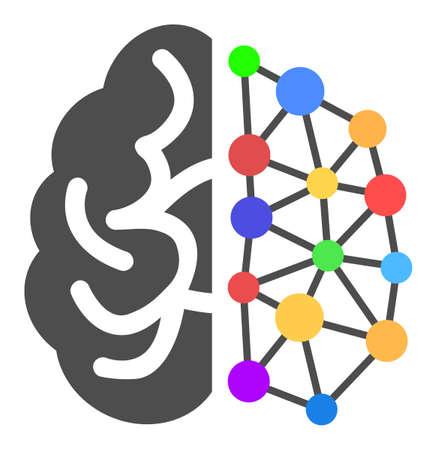 Kreatives Gehirn-Vektor-Symbol. Flaches kreatives Gehirnpiktogramm ist auf einem weißen Hintergrund isoliert.