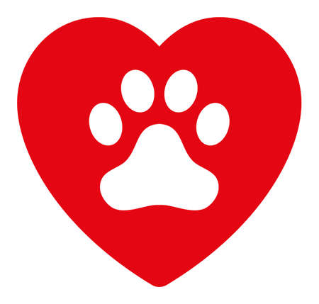 Dog love heart vector icon. Flat Dog love heart symbol is isolated on a white background.