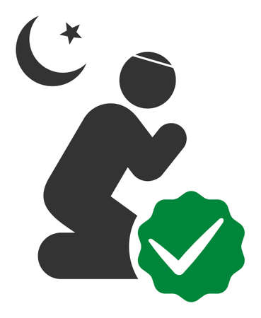 For muslims vector icon. Flat For muslims pictogram is isolated on a white background.