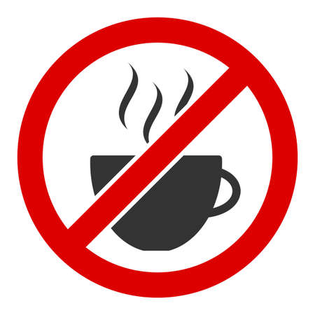 Forbidden coffee vector icon. Flat Forbidden coffee symbol is isolated on a white background.