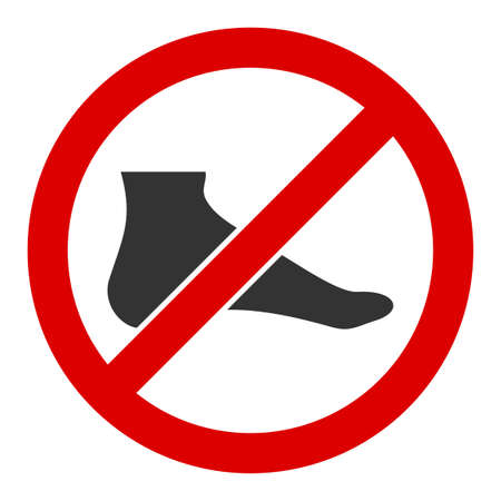 No barefoot vector icon. Flat No barefoot symbol is isolated on a white background.