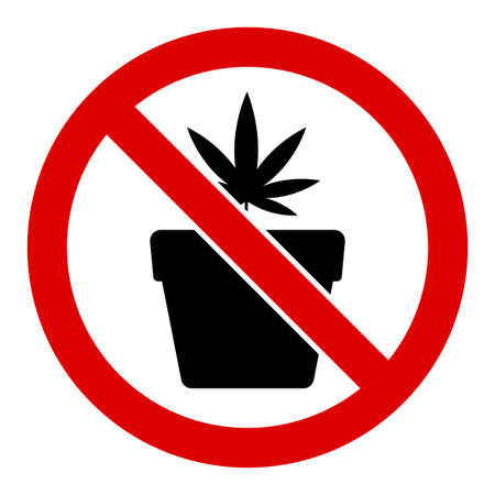 No cannabis pot vector icon. Flat No cannabis pot pictogram is isolated on a white background. 向量圖像