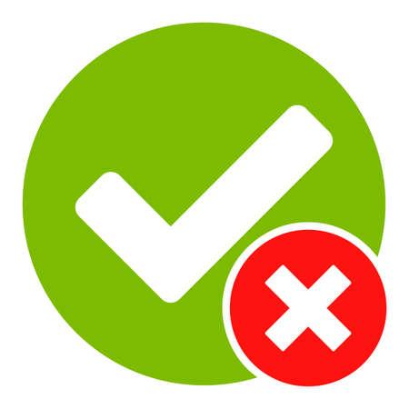 Icône de vecteur faux positif. Le symbole faux positif plat est isolé sur un fond blanc.