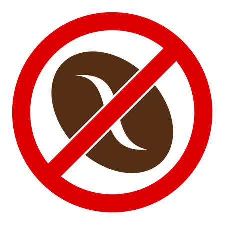No coffee bean vector icon. Flat No coffee bean symbol is isolated on a white background. Vetores