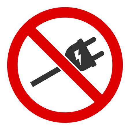 No electric cord vector icon. Flat No electric cord pictogram is isolated on a white background.