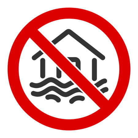 No flood disaster vector icon. Flat No flood disaster pictogram is isolated on a white background.