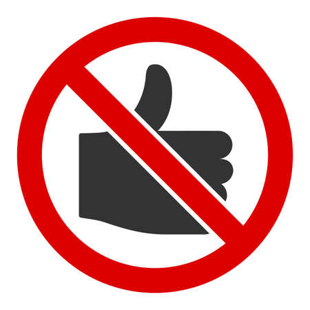 No likes vector icon. Flat No likes pictogram is isolated on a white background. Illustration