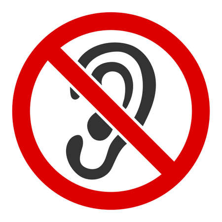 No listen vector icon. Flat No listen pictogram is isolated on a white background.  イラスト・ベクター素材