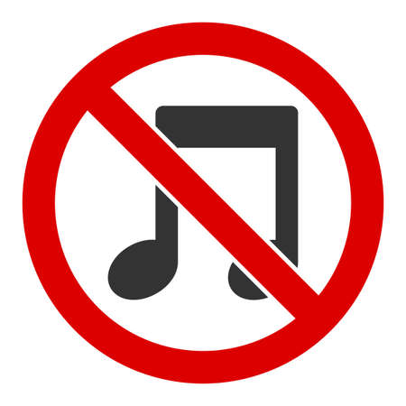 No melody vector icon. Flat No melody pictogram is isolated on a white background.