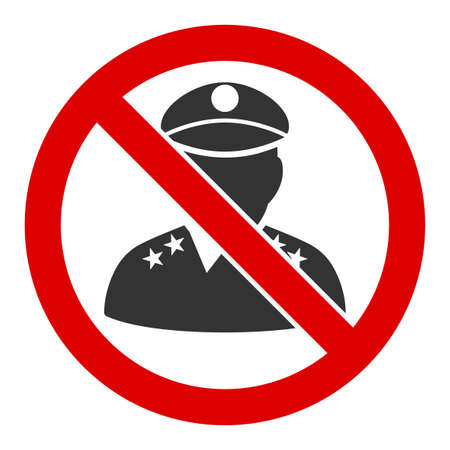No military officer vector icon. Flat No military officer pictogram is isolated on a white background.