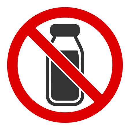 No milk bottle vector icon. Flat No milk bottle symbol is isolated on a white background.
