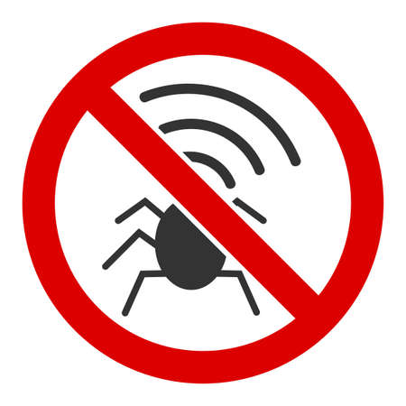 No radio bugs vector icon. Flat No radio bugs symbol is isolated on a white background. Foto de archivo - 137263902
