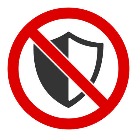 No shield vector icon. Flat No shield symbol is isolated on a white background. Ilustração