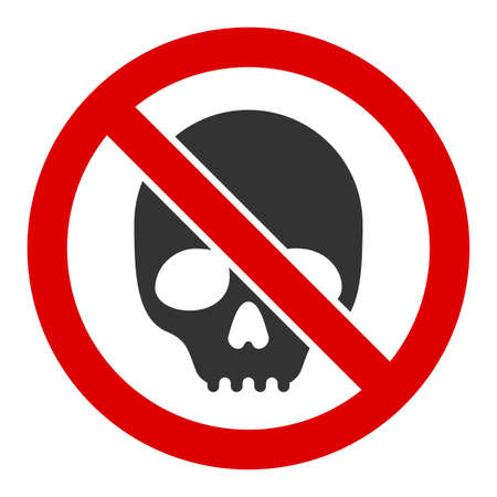 No skull vector icon. Flat No skull pictogram is isolated on a white background. Ilustração