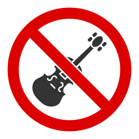 No violin vector icon. Flat No violin symbol is isolated on a white background.