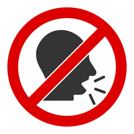 No talking vector icon. Flat No talking pictogram is isolated on a white background. Ilustración de vector