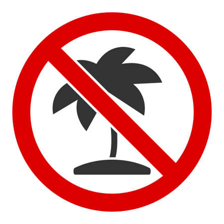 No tropic palm vector icon. Flat No tropic palm symbol is isolated on a white background.