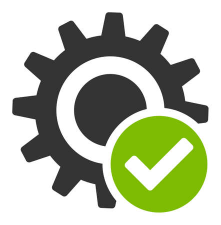 Valid settings gear vector icon. Flat Valid settings gear pictogram is isolated on a white background.