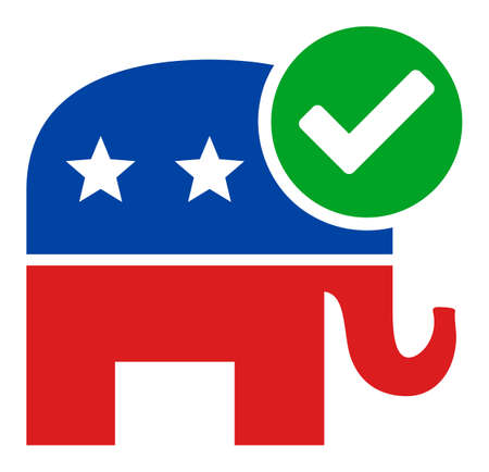 Vote republican vector icon. Flat Vote republican symbol is isolated on a white background.