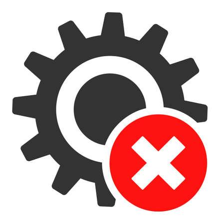 Falsche Einstellungen Zahnradvektorsymbol. Flat Falsche Einstellungen Zahnradsymbol ist auf einem weißen Hintergrund isoliert.
