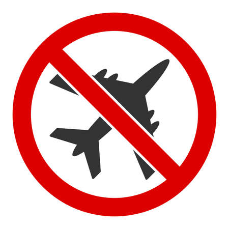 No airplane vector icon. Flat No airplane pictogram is isolated on a white background.