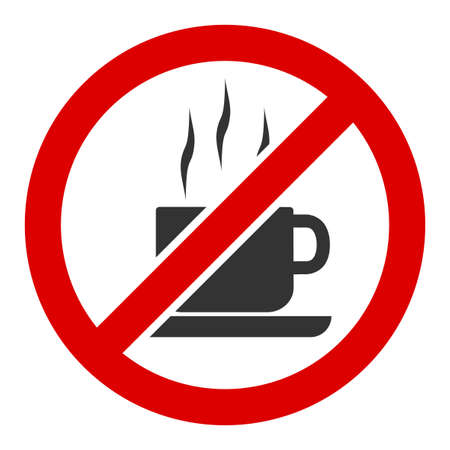 Stop coffee vector icon. Flat Stop coffee pictogram is isolated on a white background. Ilustração