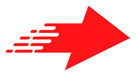 Icône de vecteur flèche droite de pointe. Le pictogramme de flèche vers la droite Flat Rush est isolé sur un fond blanc.