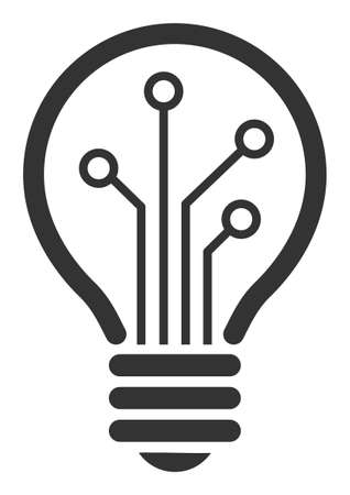 Smart bulb vector icon. Flat Smart bulb pictogram is isolated on a white background.