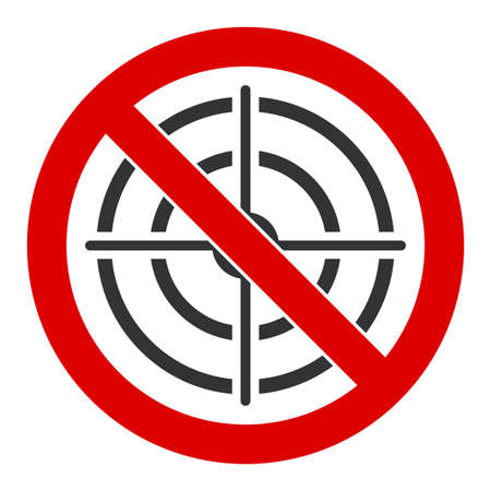 No aim vector icon. Flat No aim pictogram is isolated on a white background.