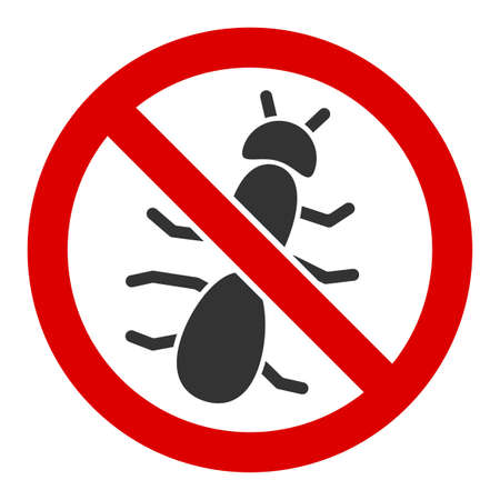 No ant vector icon. Flat No ant symbol is isolated on a white background. Foto de archivo - 137269911