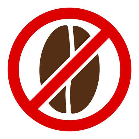 Aucune icône de vecteur de caféine. Plat Aucun symbole de caféine n'est isolé sur un fond blanc.