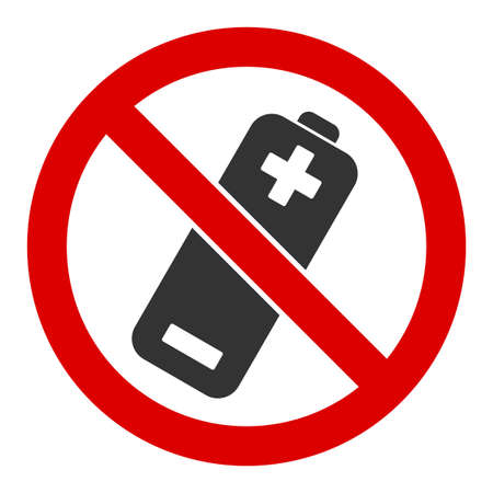 No battery vector icon. Flat No battery pictogram is isolated on a white background.