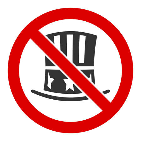 No american hat vector icon. Flat No american hat pictogram is isolated on a white background.