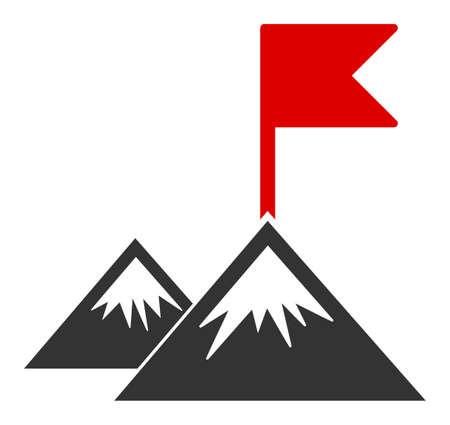 Icône de vecteur de drapeau de mission. Le symbole du drapeau de mission plat est isolé sur un fond blanc.