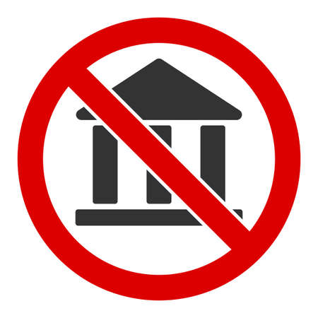 No bank building vector icon. Flat No bank building pictogram is isolated on a white background.