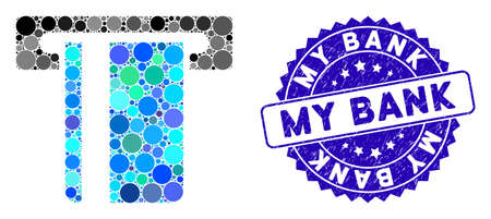 Mosaic ATM terminal icon and distressed stamp watermark with My Bank text. Mosaic vector is formed with ATM terminal icon and with scattered round items. My Bank stamp seal uses blue color,