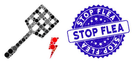 Mosaic electric fly killer icon and distressed stamp seal with Stop Flea text. Mosaic vector is formed with electric fly killer icon and with randomized round items. Stop Flea seal uses blue color, Çizim